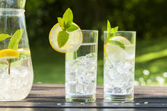 Cold summer drinks in garden Royalty Free Stock Photography