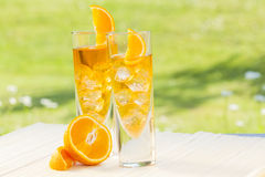 Cold summer drinks in garden Stock Photography