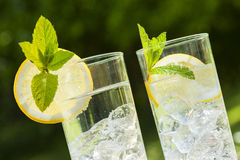 Cold summer drinks in garden Stock Images