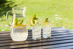 Cold summer drinks in garden Royalty Free Stock Photos
