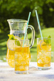 Cold summer drinks in garden Stock Photo