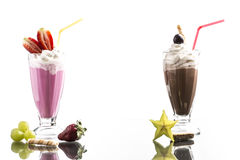 Cold summer frappes with mirroring on bright background Stock Photo