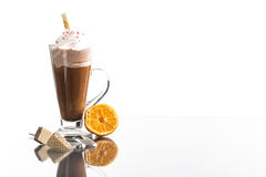 Cold Summer Frappucino With Mirroring On Bright Background Royalty Free Stock Photos