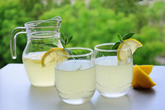 Cold summer refreshment with lemon Stock Photography
