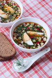 Cold summer soup okroshka. Stock Photo