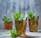 Cold summer  tea with mint Stock Photos