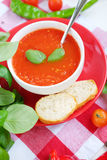 Cold summer tomato dish. Gaspacho soup with toast. Royalty Free Stock Photography
