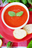 Cold summer tomato dish. Gaspacho soup with toast. Royalty Free Stock Photos