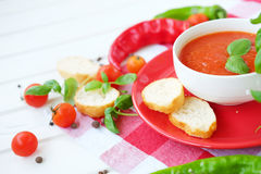 Cold summer tomato dish. Gaspacho soup with toast. Royalty Free Stock Image