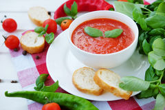 Cold summer tomato dish. Gaspacho soup with toast. Stock Image