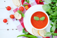 Cold summer tomato dish. Gaspacho soup with toast. Stock Photos