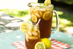 Cold Summertime Beverage Iced Tea With Lemon Stock Image