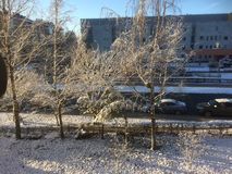 Cold sunny and snowy morning in Vilnius. Lithuania. View through the window stock photo