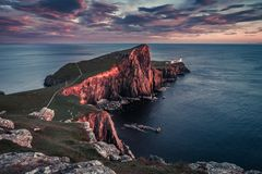 Cold sunset at the Neist point lighthouse, Scotland, UK. Europe Stock Photo