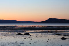 Cold Sunset in spring by Trondheimsfjorden Stock Images
