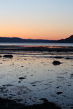 Cold Sunset in spring by Trondheimsfjorden Royalty Free Stock Photo