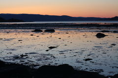 Cold Sunset in spring by Trondheimsfjorden Royalty Free Stock Images