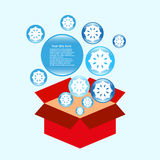 Cold surprise in box  background Royalty Free Stock Images
