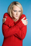 Cold Sweater Woman. Cold winter blond sweater woman royalty free stock photography