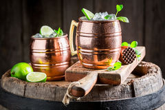 Cold and tasty cocktail made of fresh ingredients. On old wooden barrel Stock Image