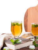 Cold tea with ice and mint leaves Stock Images