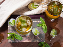 Cold tea with ice and mint leaves Royalty Free Stock Images