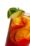 Cold tea with lime and ice Royalty Free Stock Images