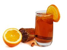 Cold tea with orange Stock Photos