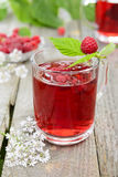 Cold tea with raspberry Royalty Free Stock Photos