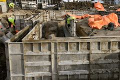 Winter construction of a building foundation royalty free stock images