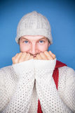 Cold times man. Happy man smiling in winter clothes in cold times Royalty Free Stock Image