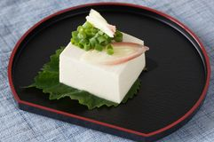 Cold tofu ; called Hiyayakko. Japanese cuisine tofu is made from soy Royalty Free Stock Photography