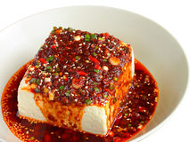 Cold tofu dressed with sauce stock image