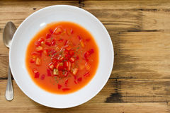 Cold tomato soup in brown background Stock Images
