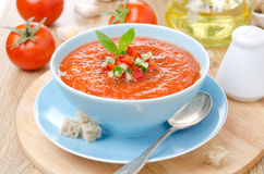 Cold tomato soup gazpacho with basil and croutons in a bowl Royalty Free Stock Photo