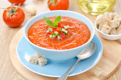 Cold tomato soup gazpacho with basil and croutons in a bowl Royalty Free Stock Images