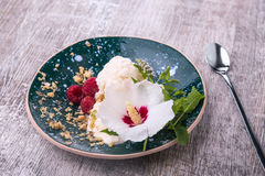 Cold vanilla ice cream with decorative flower and mint on a wooden background. A dessert with raspberries and nuts. Stock Photography