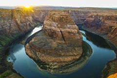 Horse shoe Bend, Grand Canyon National Park near P, USA - Panorama Sunset colors- snow and winter - fall autumn colors - mountains stock images