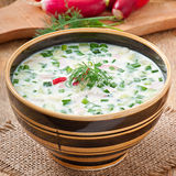 Cold vegetable kefir soup Stock Photos