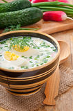Cold vegetable kefir soup Stock Photo