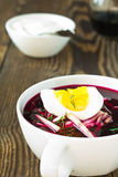 Cold vegetable soup with beetroot and  cucumber Royalty Free Stock Photography