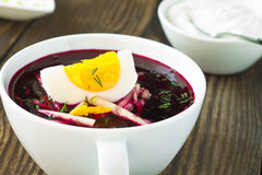 Cold vegetable soup with beetroot and  cucumber Royalty Free Stock Photos