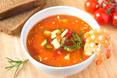 Cold vegetable soup with shrimps Royalty Free Stock Image