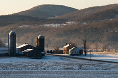 Cold vermont farm. A vermont farm at dawn on a very cold morning Royalty Free Stock Images
