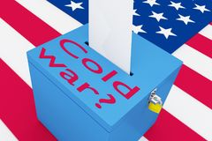 Cold War? concept. 3D illustration of Cold War? script on a ballot box, with US flag as a background Royalty Free Stock Photography
