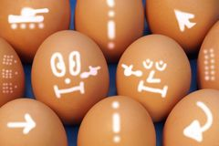 Cold War. Drawn Fragile Peace on Eggs. Concept and Idea. Royalty Free Stock Photography
