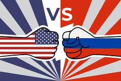 Free Cold War Of The USA And Russia. US Flag Fist Vs Russian Flag Fist. American Russian Military Confrontation. Vector Flat Icon Royalty Free Stock Image - 209986426