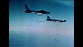 Cold War US - Some B-52 bomber at bomb drop. Cold War Color. Some US B-52 bomber at bombing drop stock video