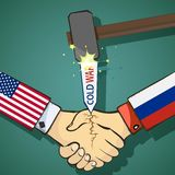 Cold war between the USA and Russia. Handshake of two people. Stock  flat graphic illustration Stock Images