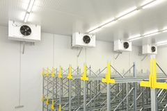 Cold Warehouse Cooling. Industrial Air Conditioners Refrigeration Cooling System in Warehouse stock image